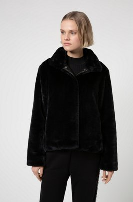 Regular-fit cropped jacket in faux fur, Black