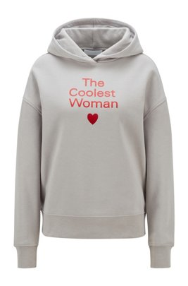 Hooded sweatshirt in organic cotton with printed slogan, Light Grey