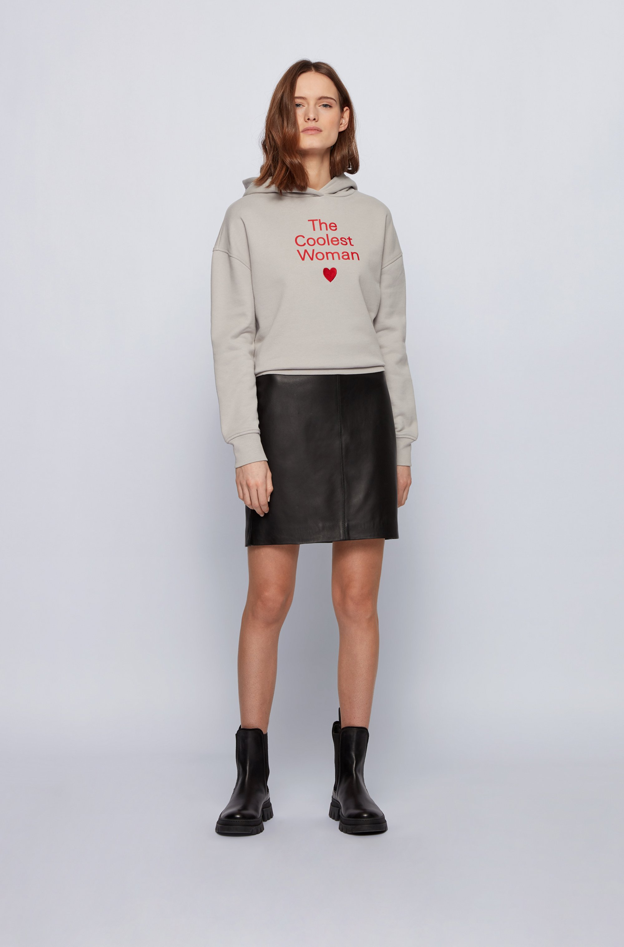 Hooded sweatshirt in organic cotton with printed slogan