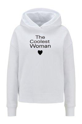 Kapuzen-Sweatshirt aus Bio-Baumwolle mit Slogan-Print, Weiß