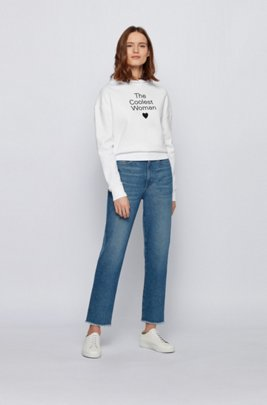 Hooded sweatshirt in organic cotton with printed slogan, White