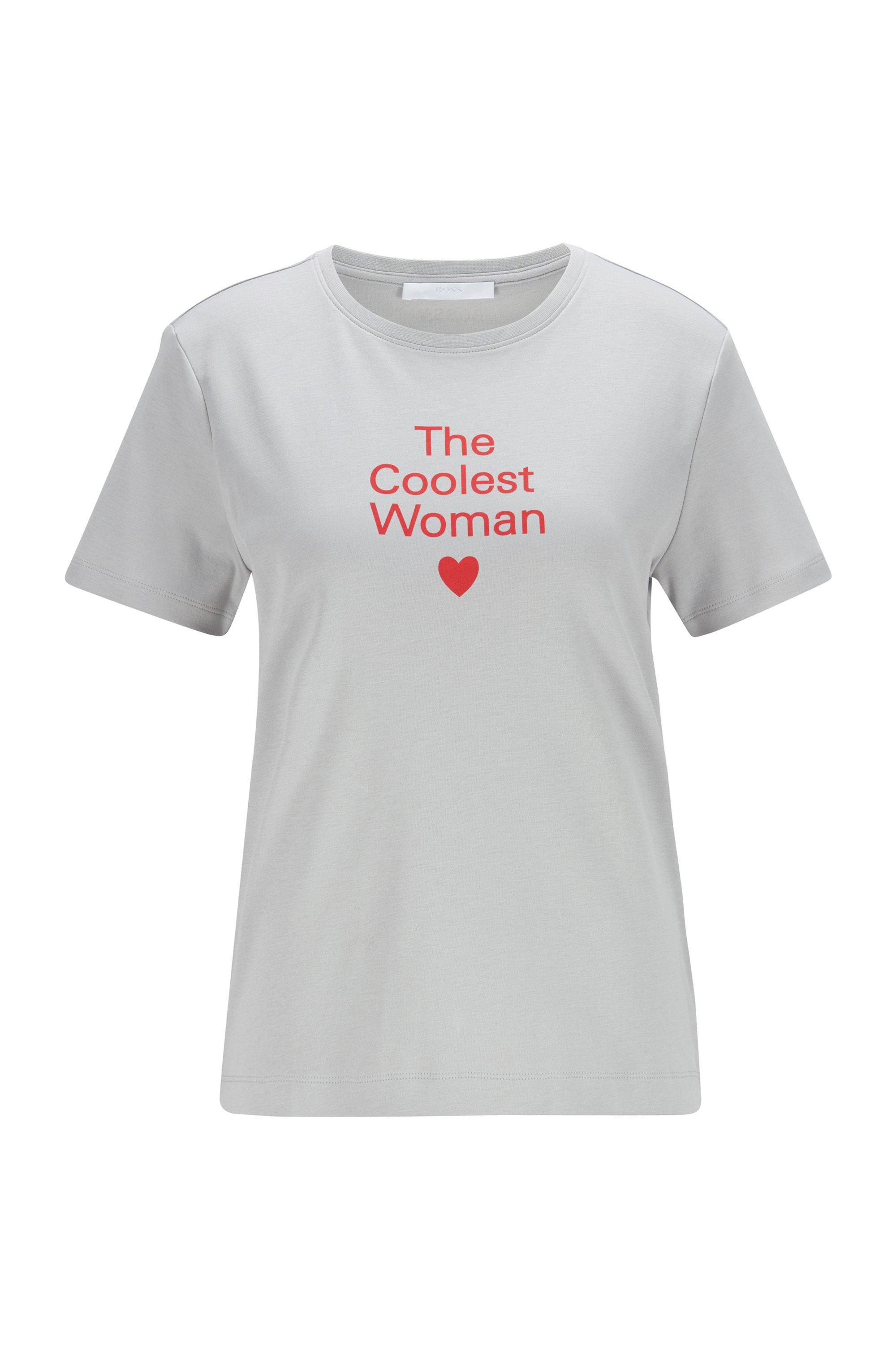 Crew-neck slogan T-shirt in Supima cotton, Silver
