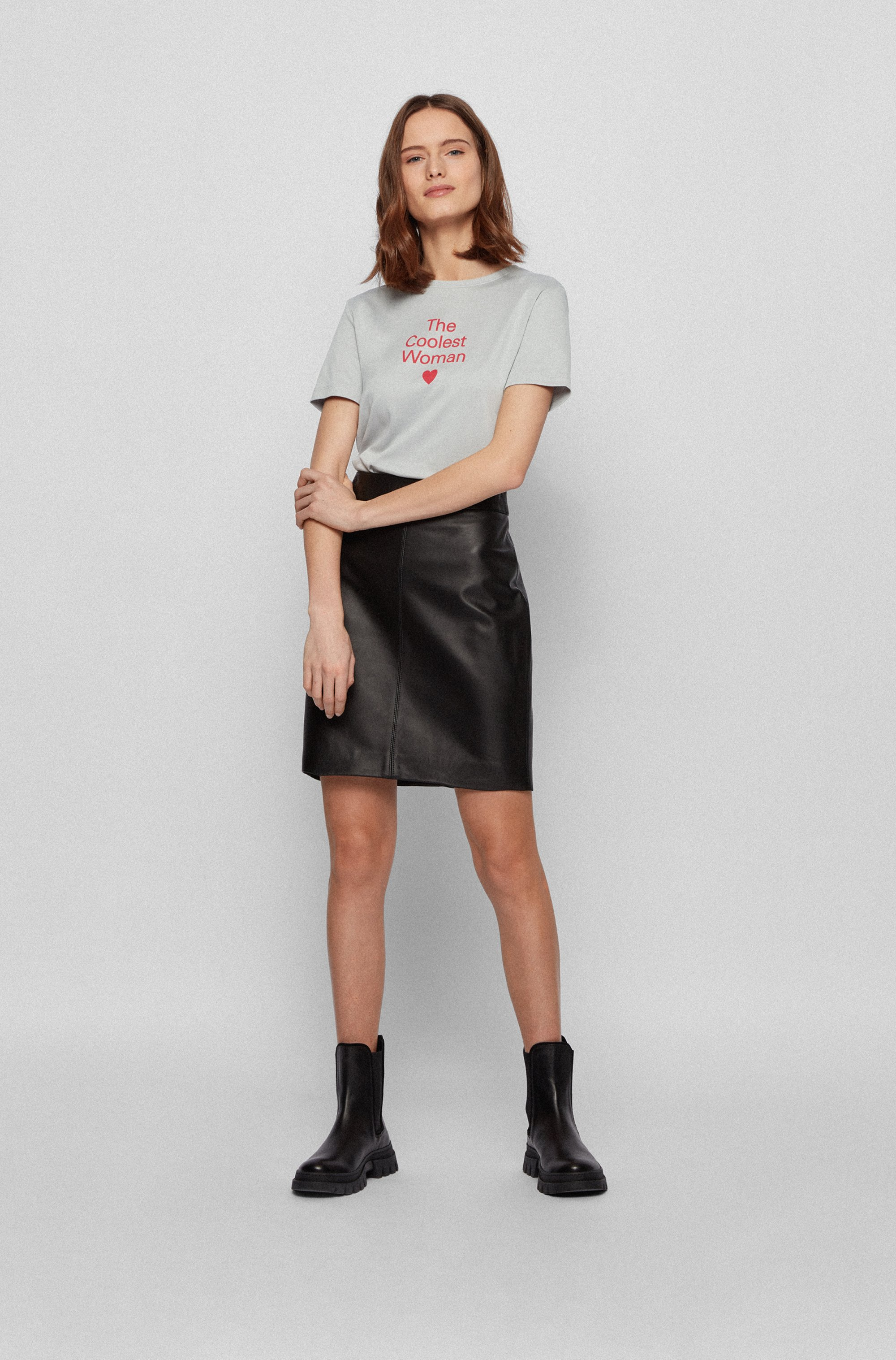 Crew-neck slogan T-shirt in Supima cotton