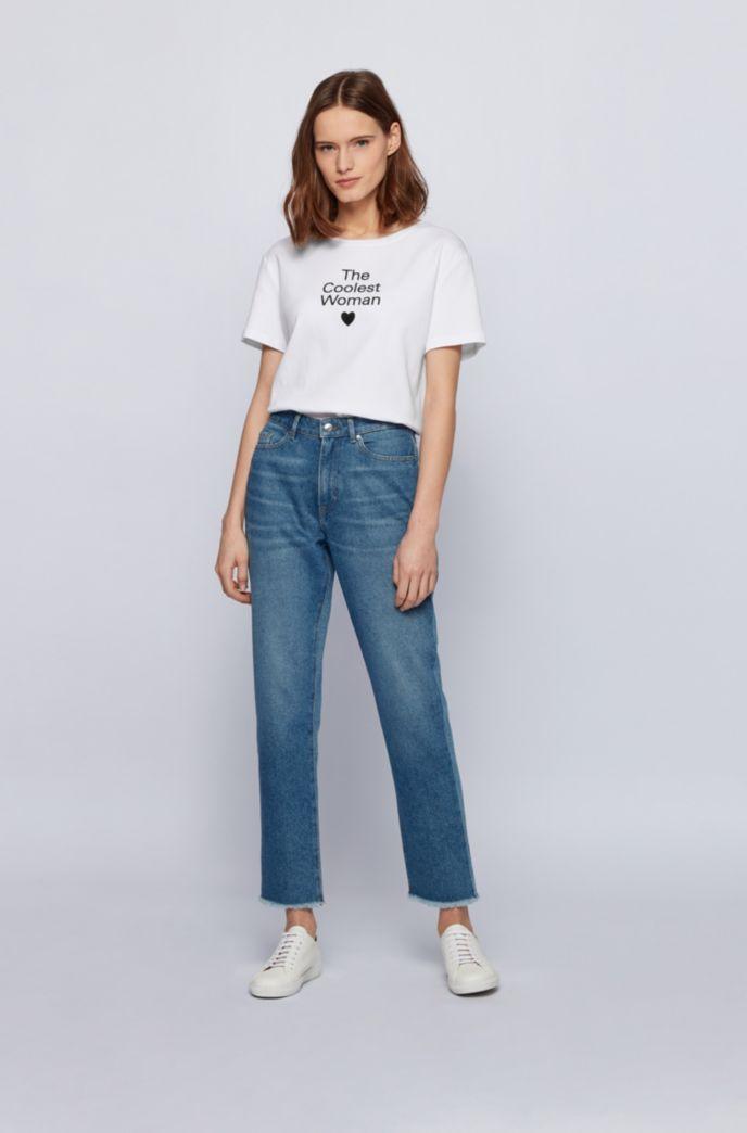 Crew-neck slogan T-shirt in Supima cotton