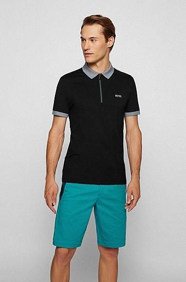 徽标艺术图案修身版拉链领 Polo 衫,  001_Black