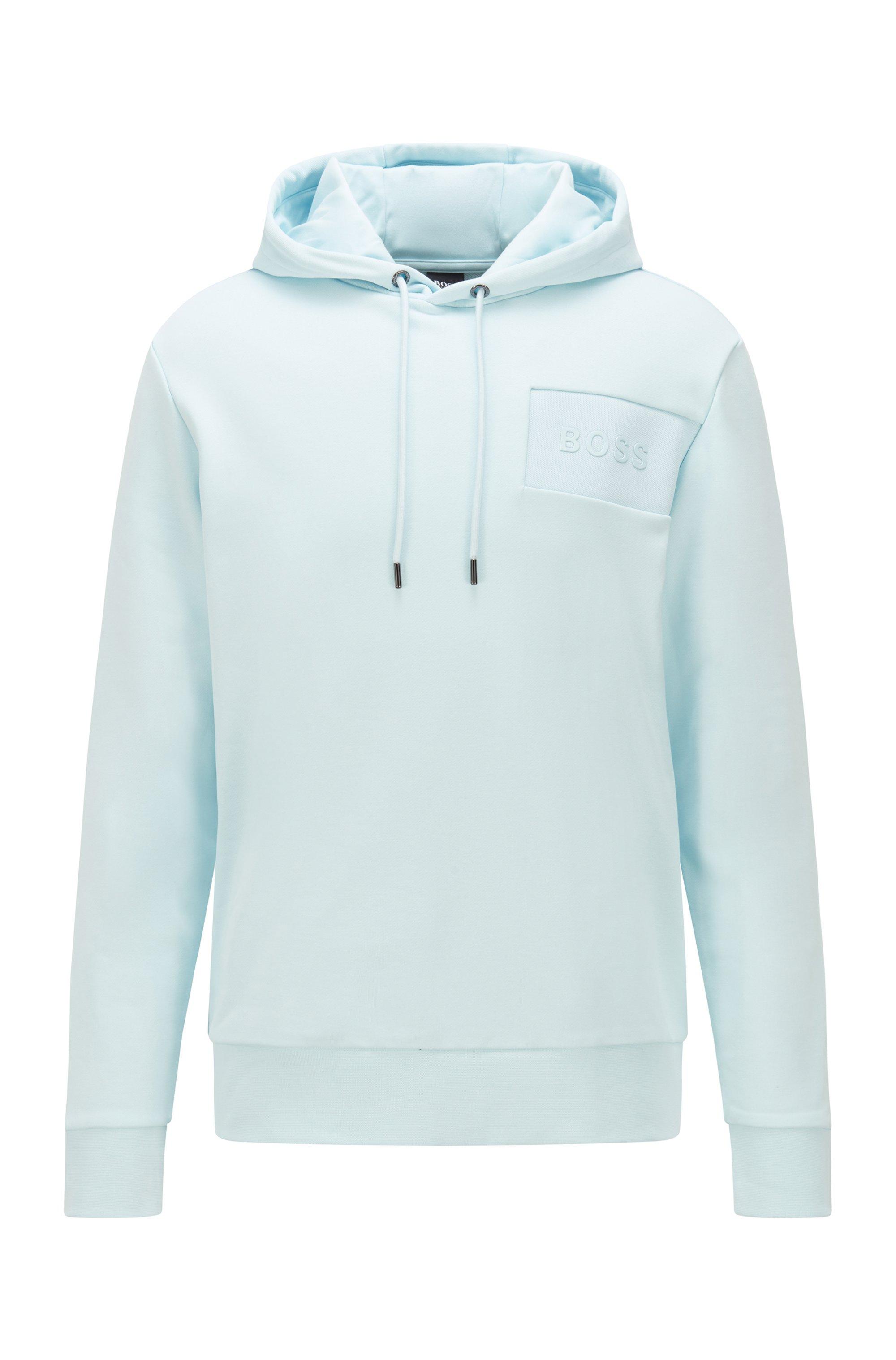 Sweat à capuche Oversized Fit avec logo imprimé au gel, bleu clair