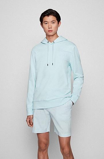 胶印徽标图案装饰连帽衫,  452_Light/Pastel Blue