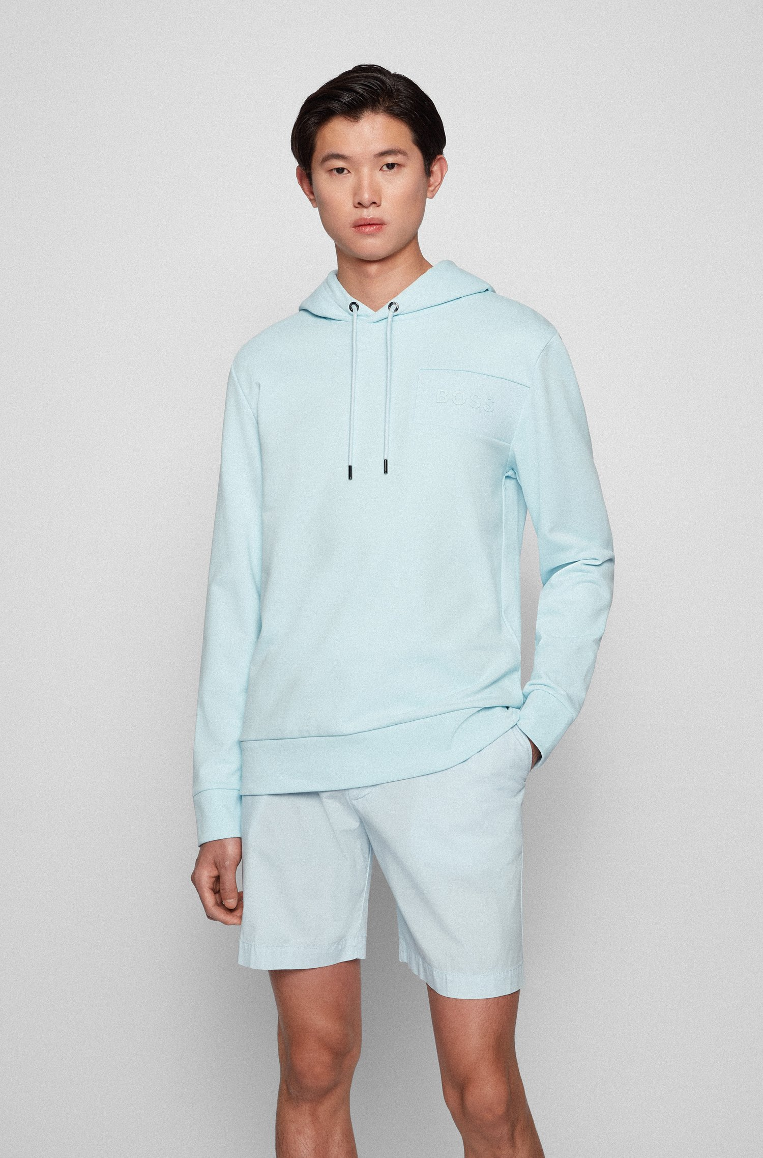 Oversized-fit hoodie with gel-print logo, Light Blue