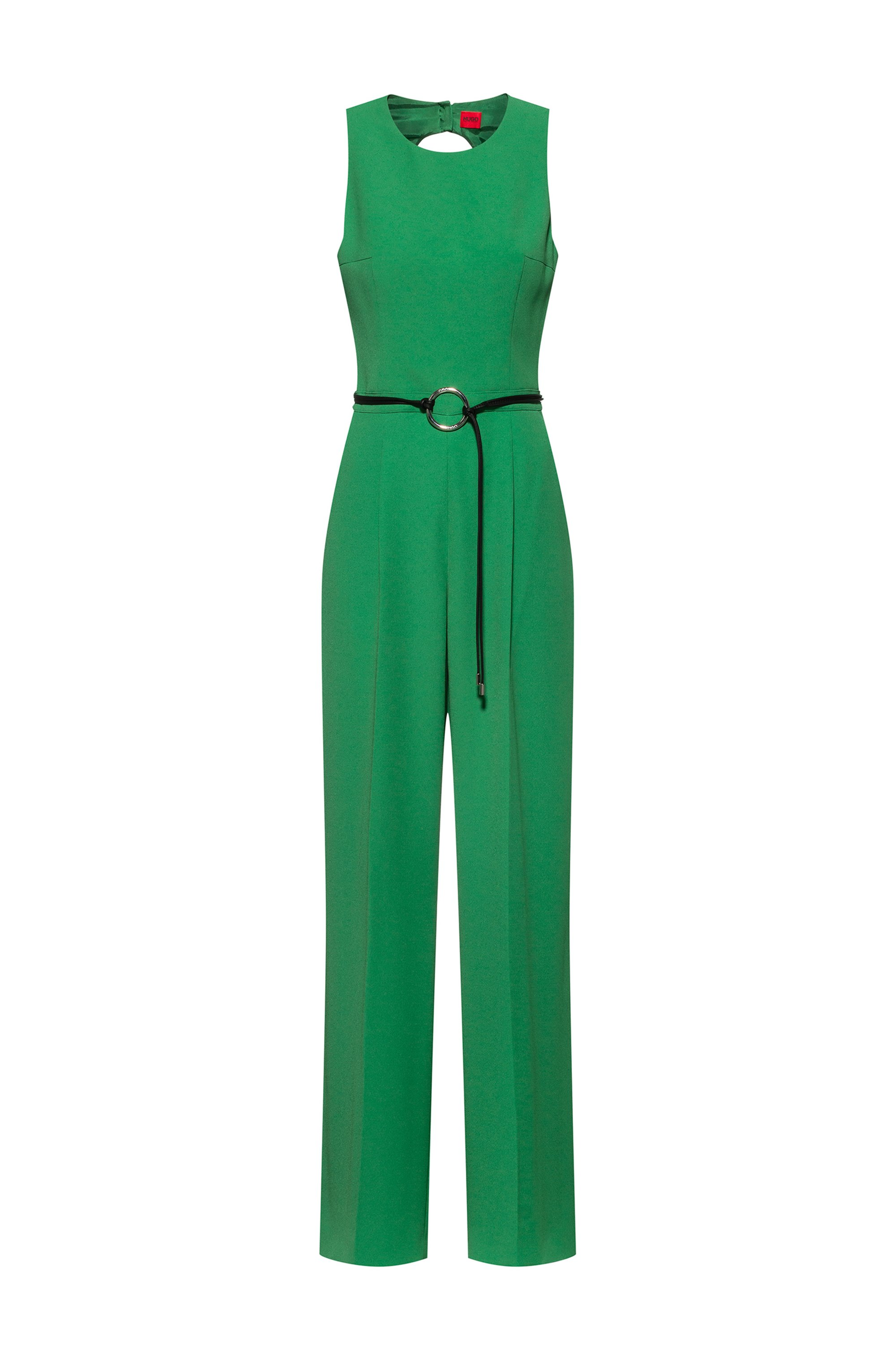 Sleeveless jumpsuit with cut-out back, Green