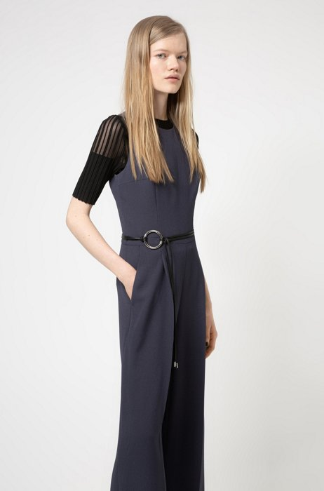 Sleeveless jumpsuit with cut-out back, Dark Blue