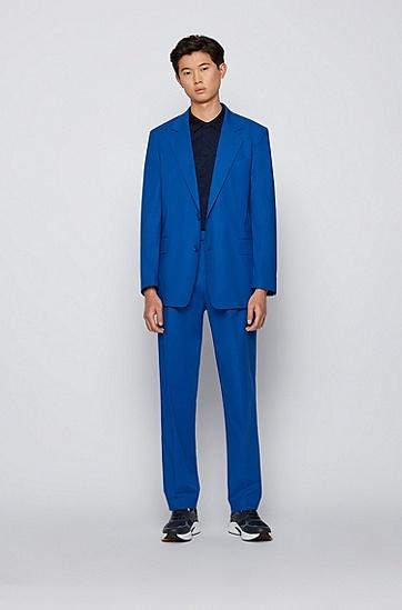 同色系热带风情图案修身版 Polo 衫,  402_Dark Blue