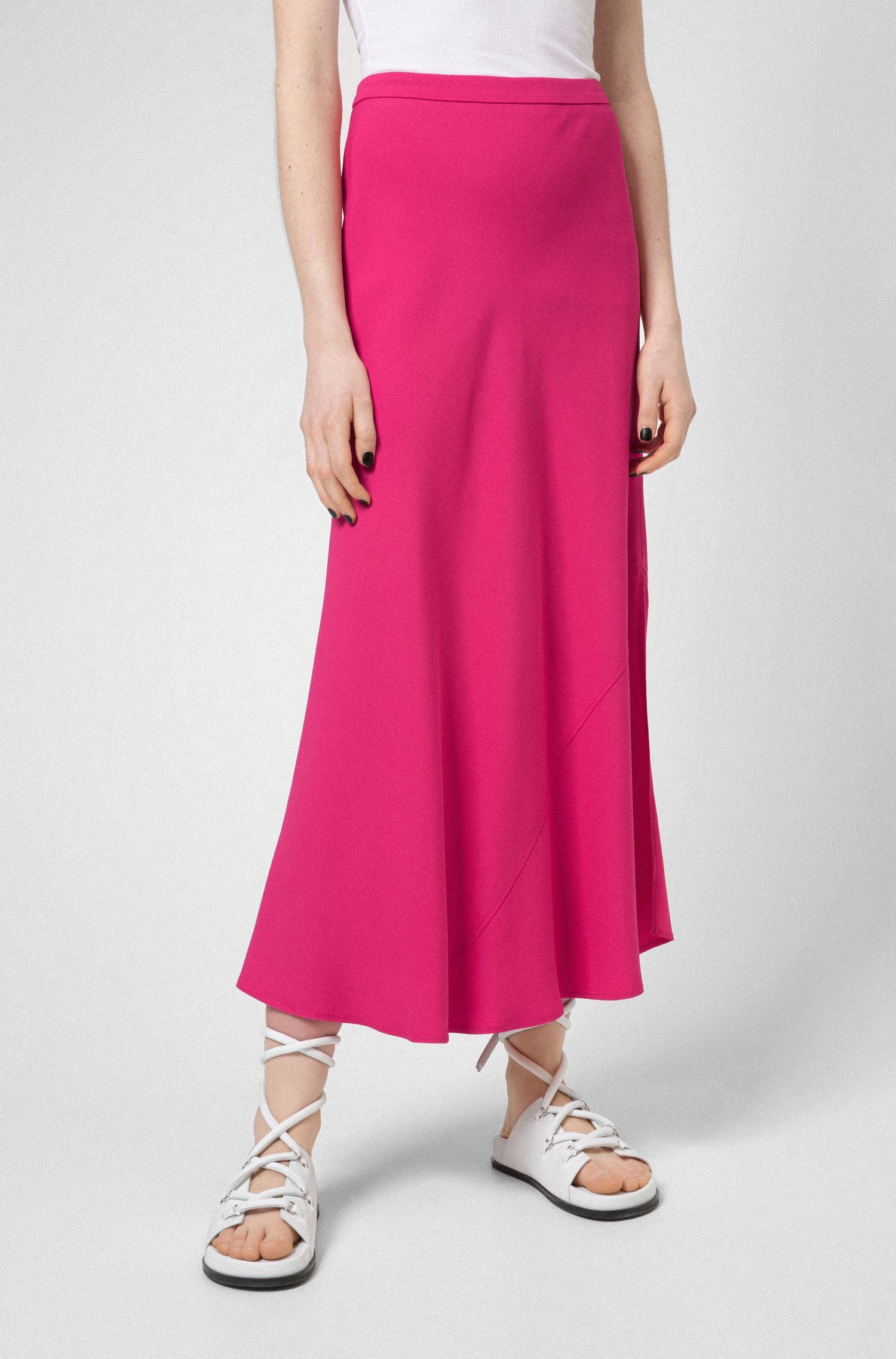 A-line midi skirt in lustrous fabric, Pink