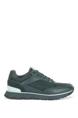Running-inspired trainers in mixed leathers, Dark Green