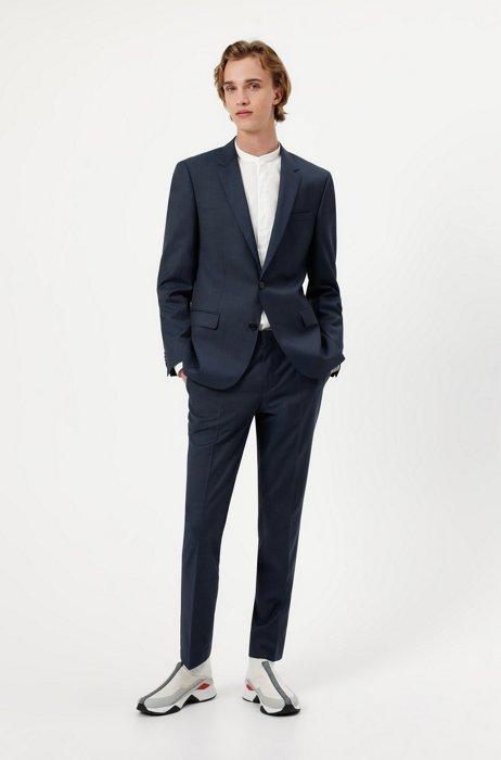 Slim-fit suit in a patterned wool blend, Dark Blue