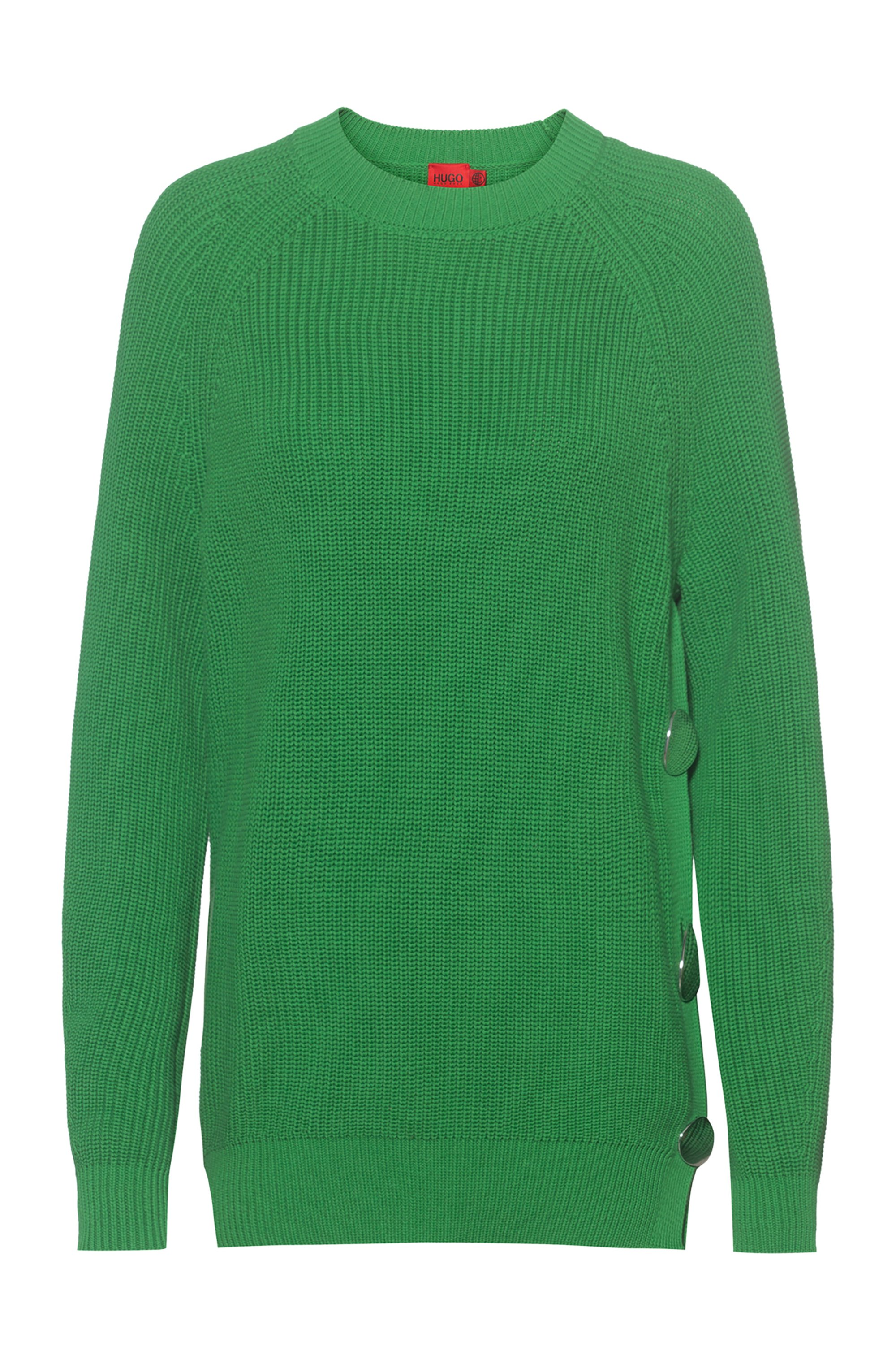 Oversized sweater in organic cotton with button detail, Green