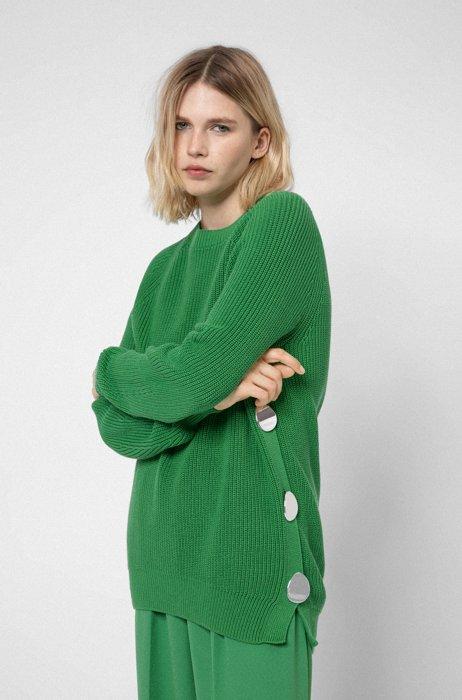 Oversized Pullover aus Bio-Baumwolle mit Knopf-Details, Grün