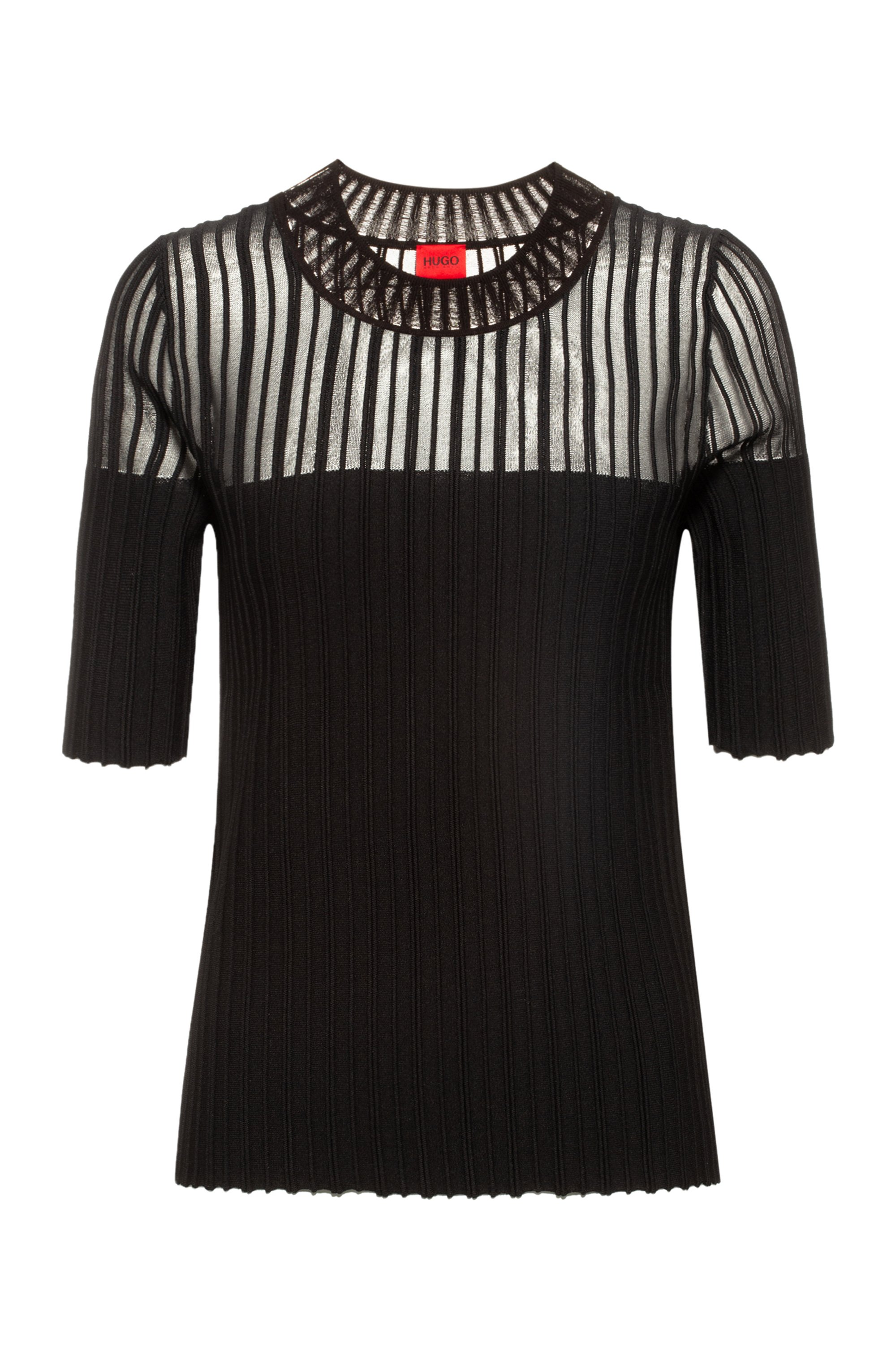 Slim-Fit Kurzarm-Pullover mit transparentem Einsatz, Schwarz