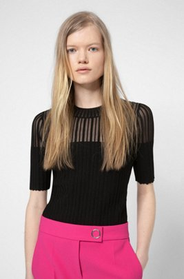 Slim-fit short-sleeved sweater with transparent panel, Black