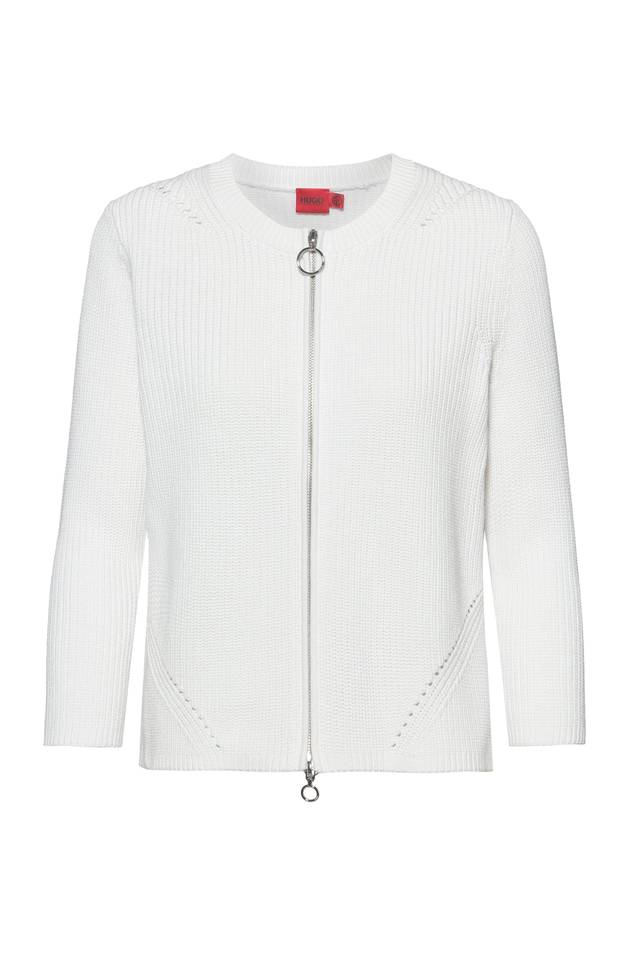 Cardigan aus Bio-Baumwolle mit Reißverschluss, Weiß