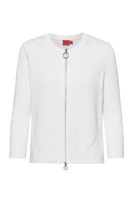 Cardigan zippé en coton biologique, Blanc