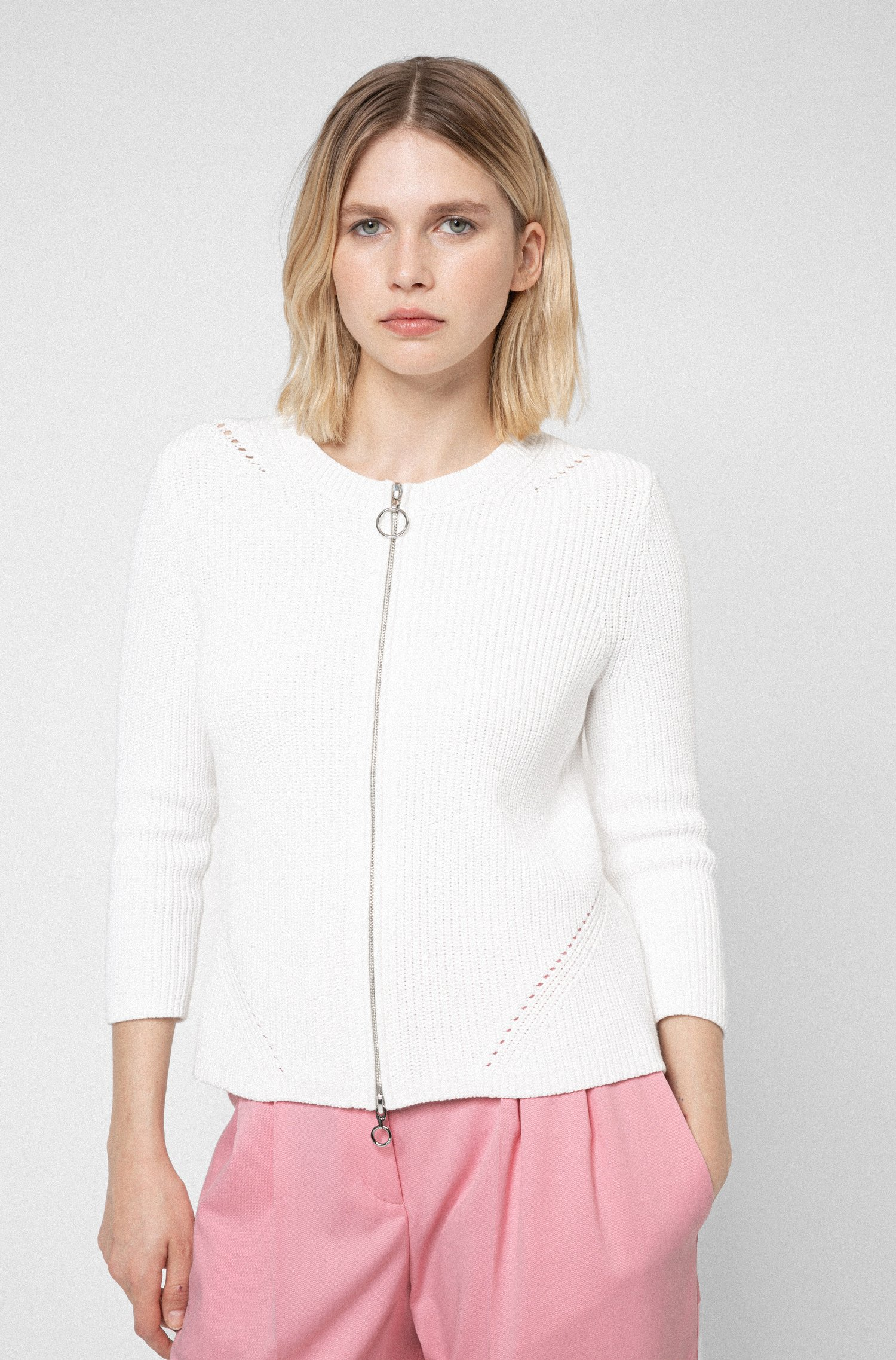 Zip-up cardigan in organic cotton, White