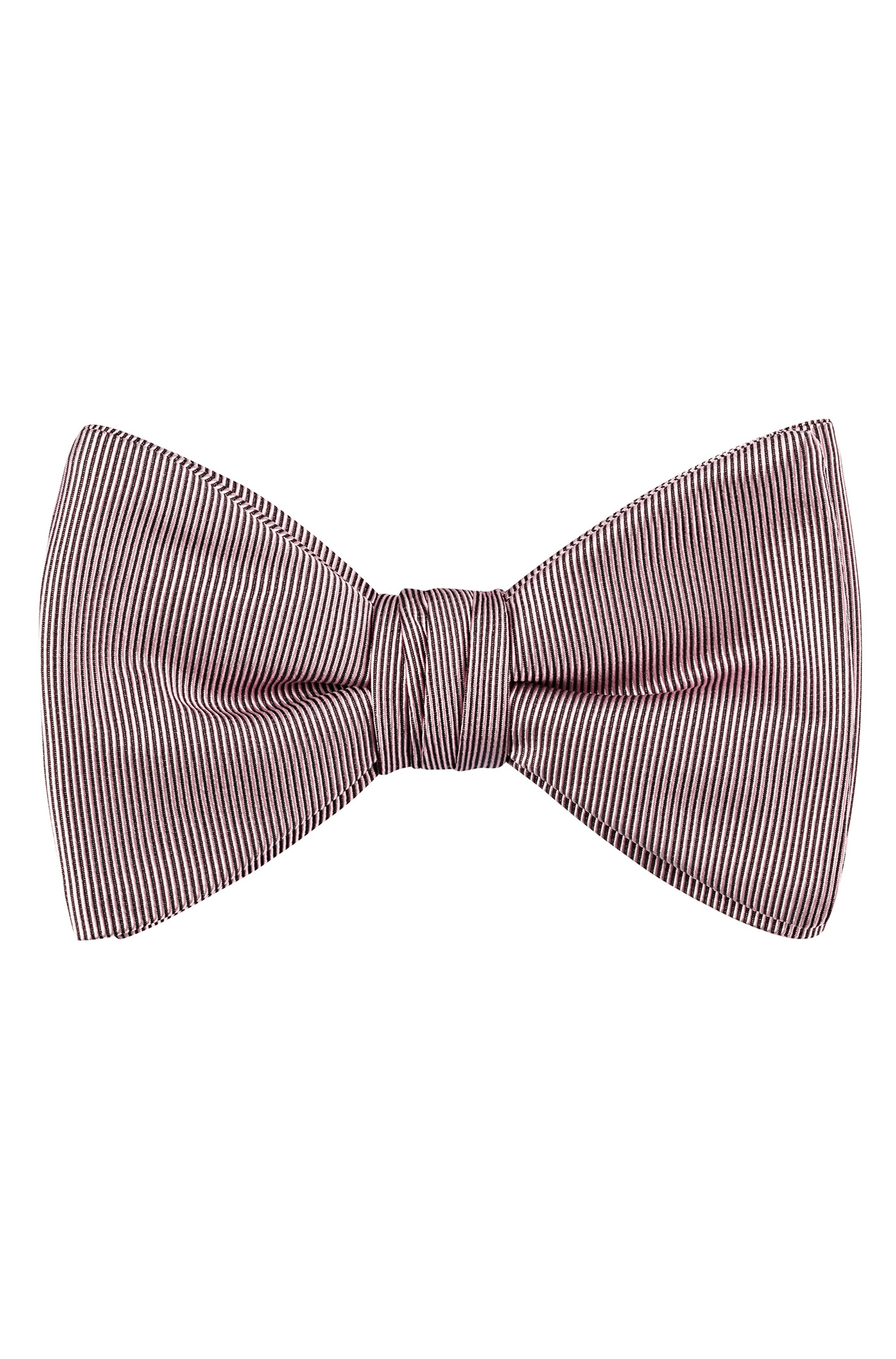 Bow tie in pure-silk jacquard, Black Patterned