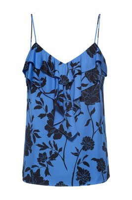 Ruffle-front top with collection-themed print, Patterned
