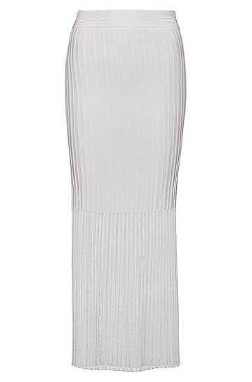 透明材质搭配罗纹结构的针织半身裙,  102_Natural