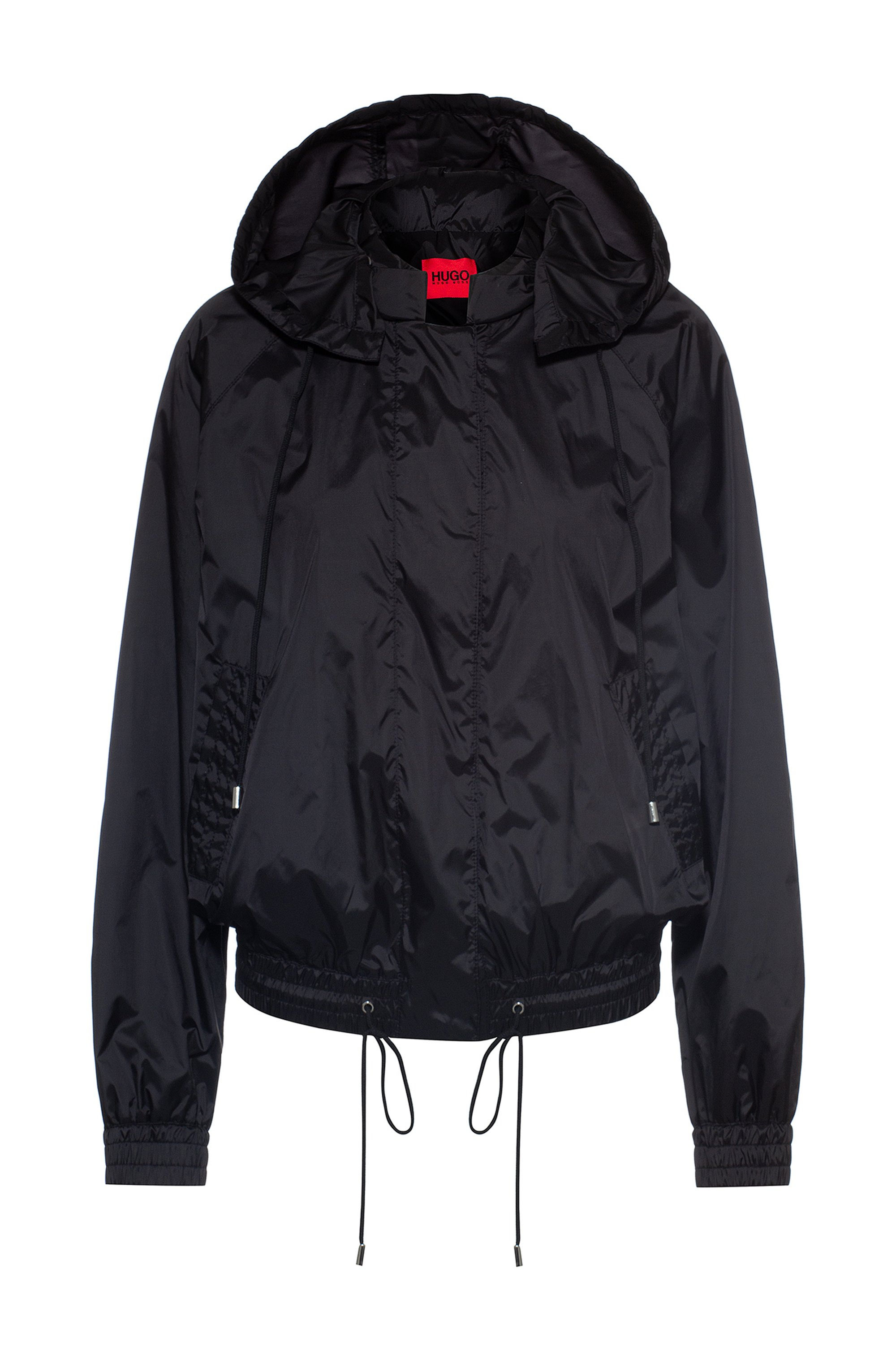 Water-repellent blouson jacket with drawstring hood, Black