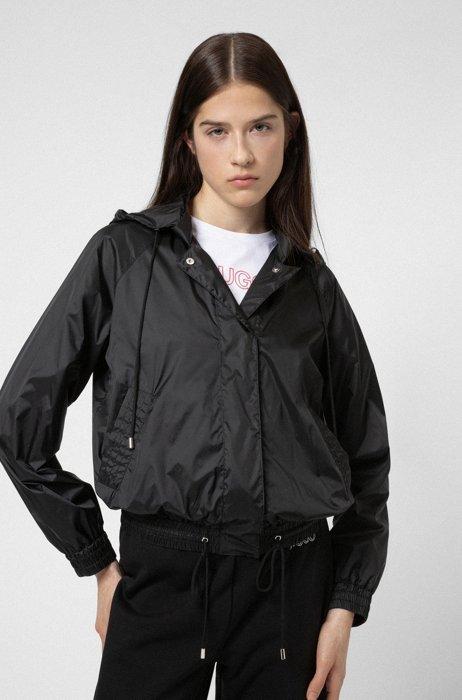 Water-repellent blouson jacket with drawstring hood, Black