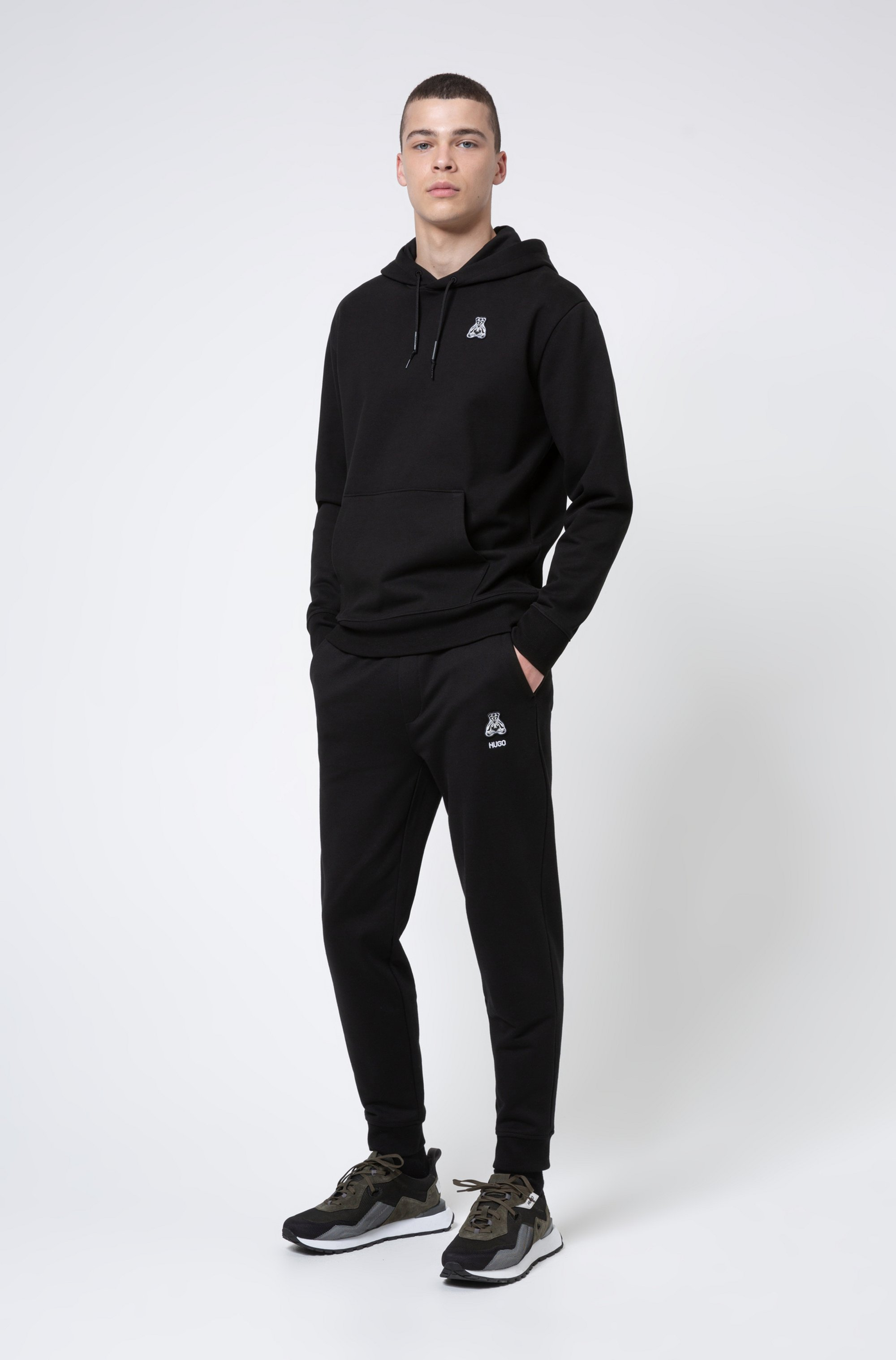 Regular-fit tracksuit bottoms in cotton with bear motif