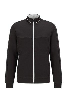 Zip-up sweatshirt with contrast logo embroidery, Black