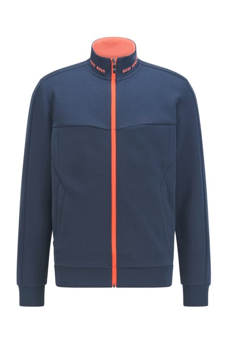 Sweater met ritssluiting en contrasterend logostiksel, Donkerblauw