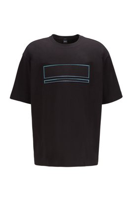 Oversized-fit T-shirt with carbon-foil detail, Black