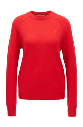 Wool-cashmere sweater with tonal heart embroidery, light pink