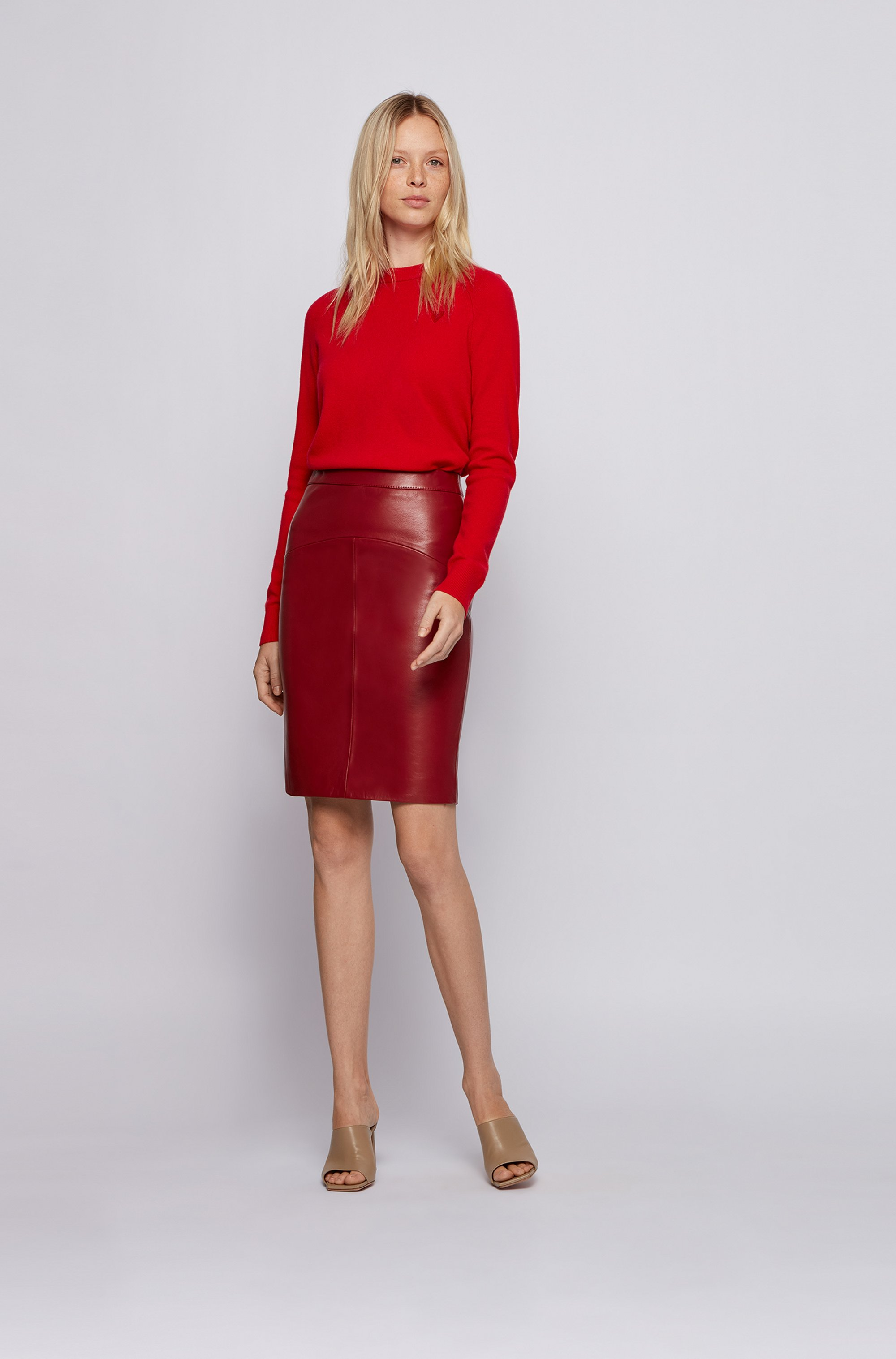 Wool-cashmere sweater with tonal heart embroidery