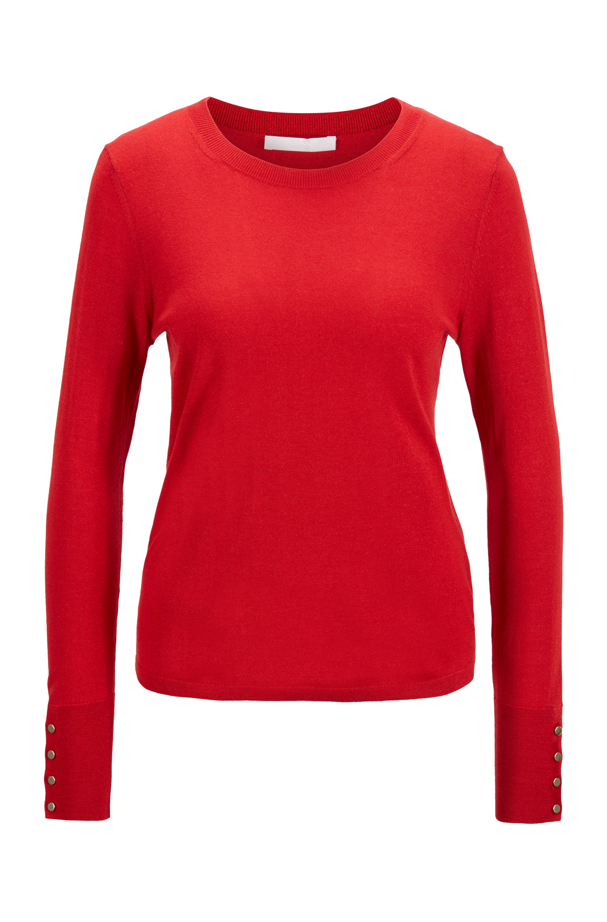 Merino-wool blend sweater with gold-toned buttons, light pink