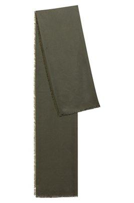 Logo-jacquard scarf in modal and wool, Khaki