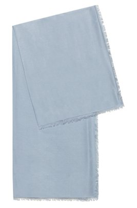 Logo-jacquard scarf in modal and wool, Light Blue