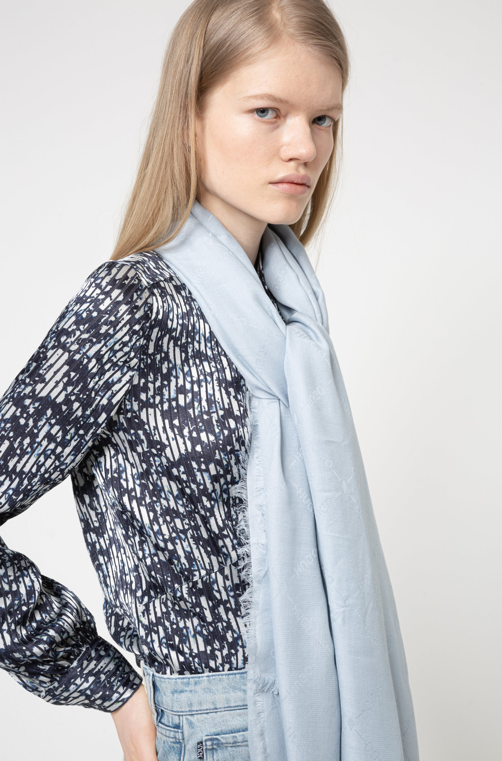 Logo-jacquard scarf in modal and wool