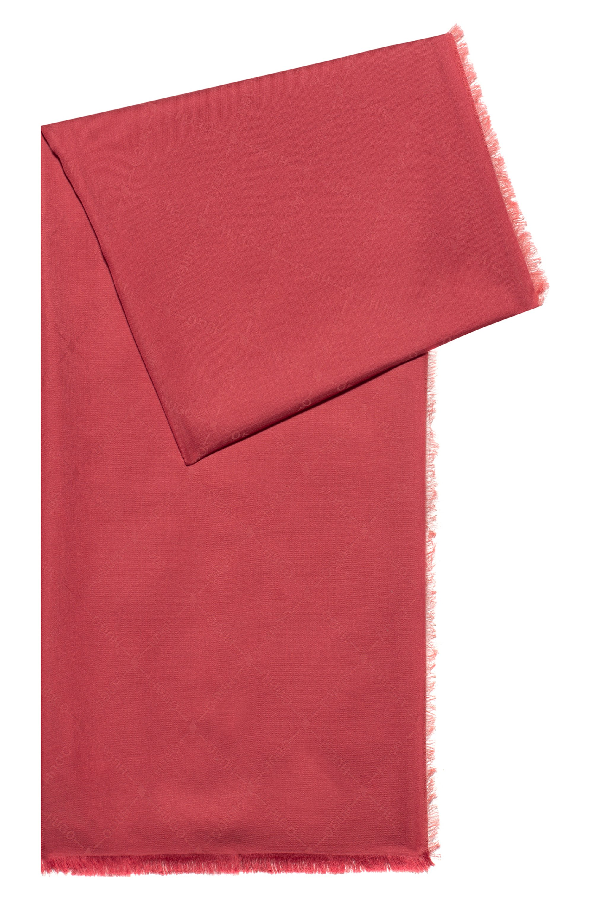 Logo-jacquard scarf in modal and wool, Red