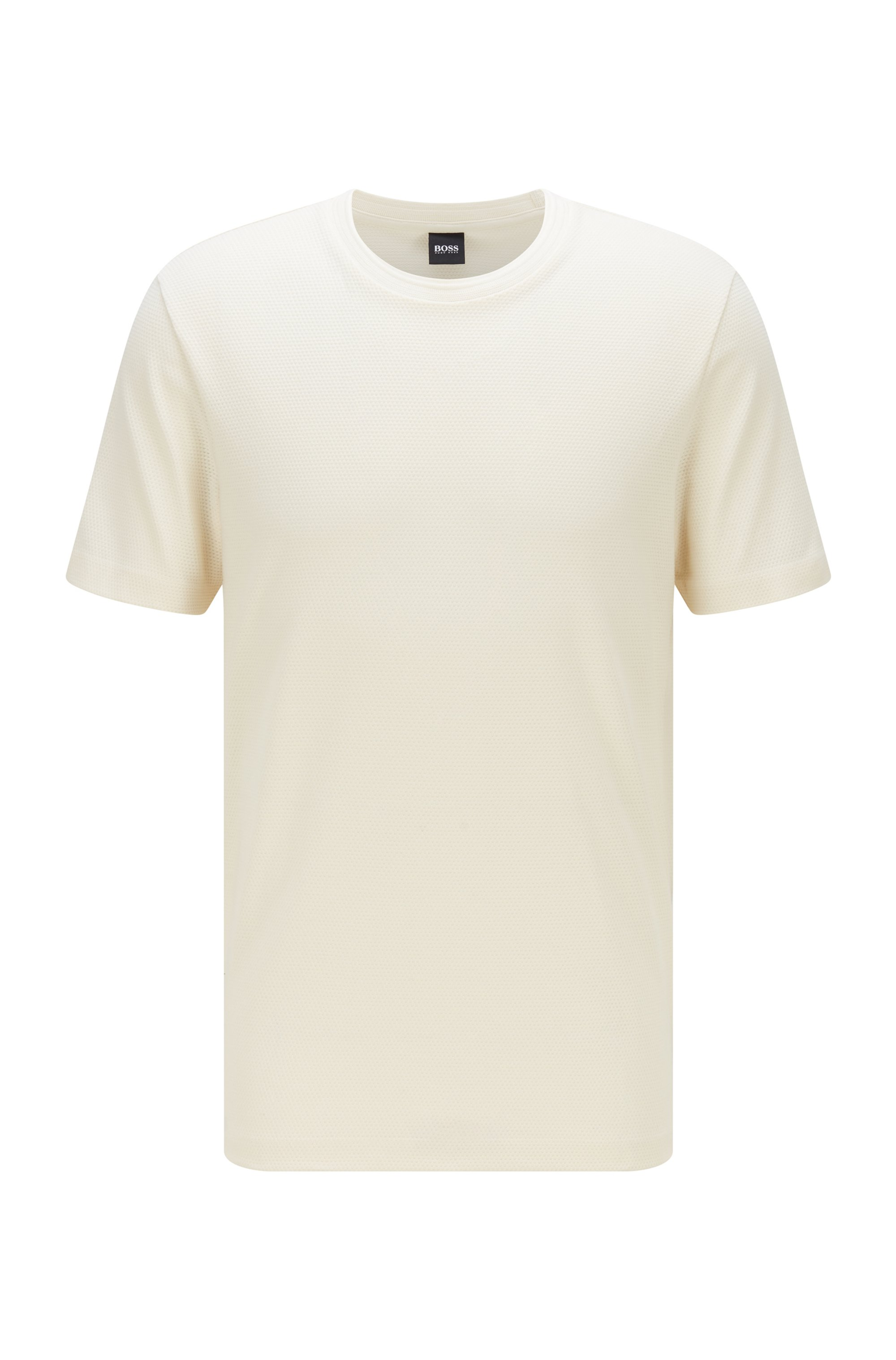 Cotton-blend T-shirt with bubble-jacquard structure, White