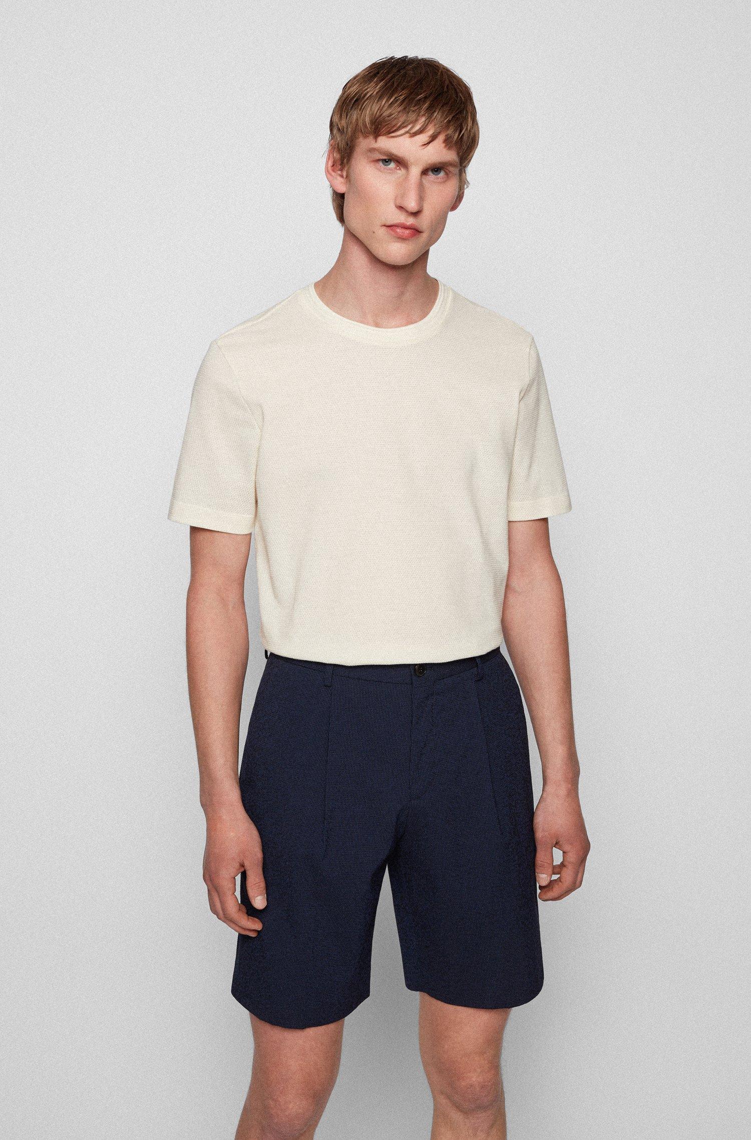 Cotton-blend T-shirt with bubble-jacquard structure, White