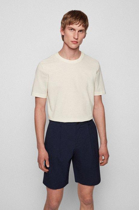 Camiseta en mezcla de algodón con estructura de jacquard de burbujas, Blanco