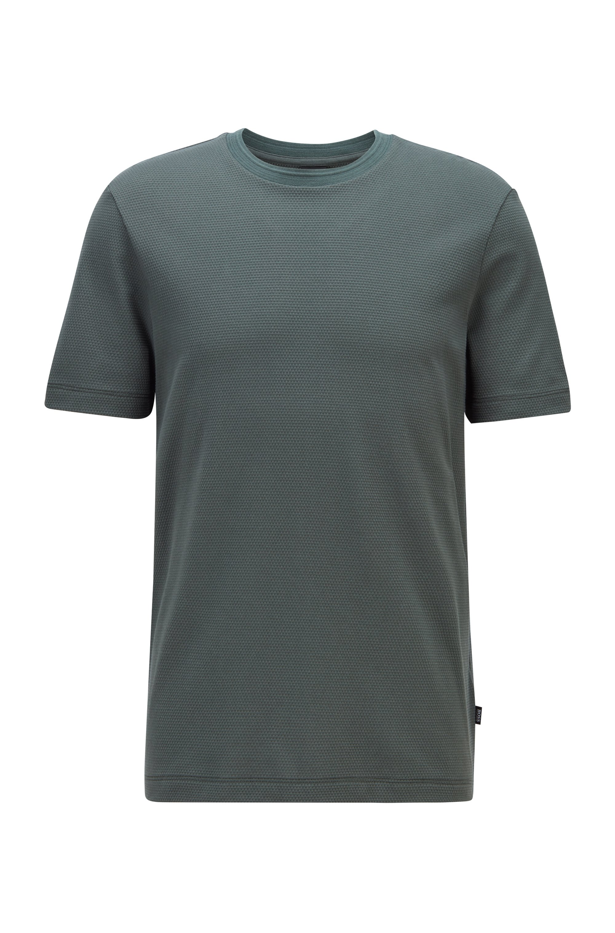 Camiseta en mezcla de algodón con estructura de jacquard de burbujas, Verde oscuro