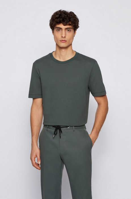 Cotton-blend T-shirt with bubble-jacquard structure, Dark Green
