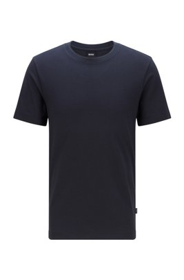 Cotton-blend T-shirt with bubble-jacquard structure, Dark Blue