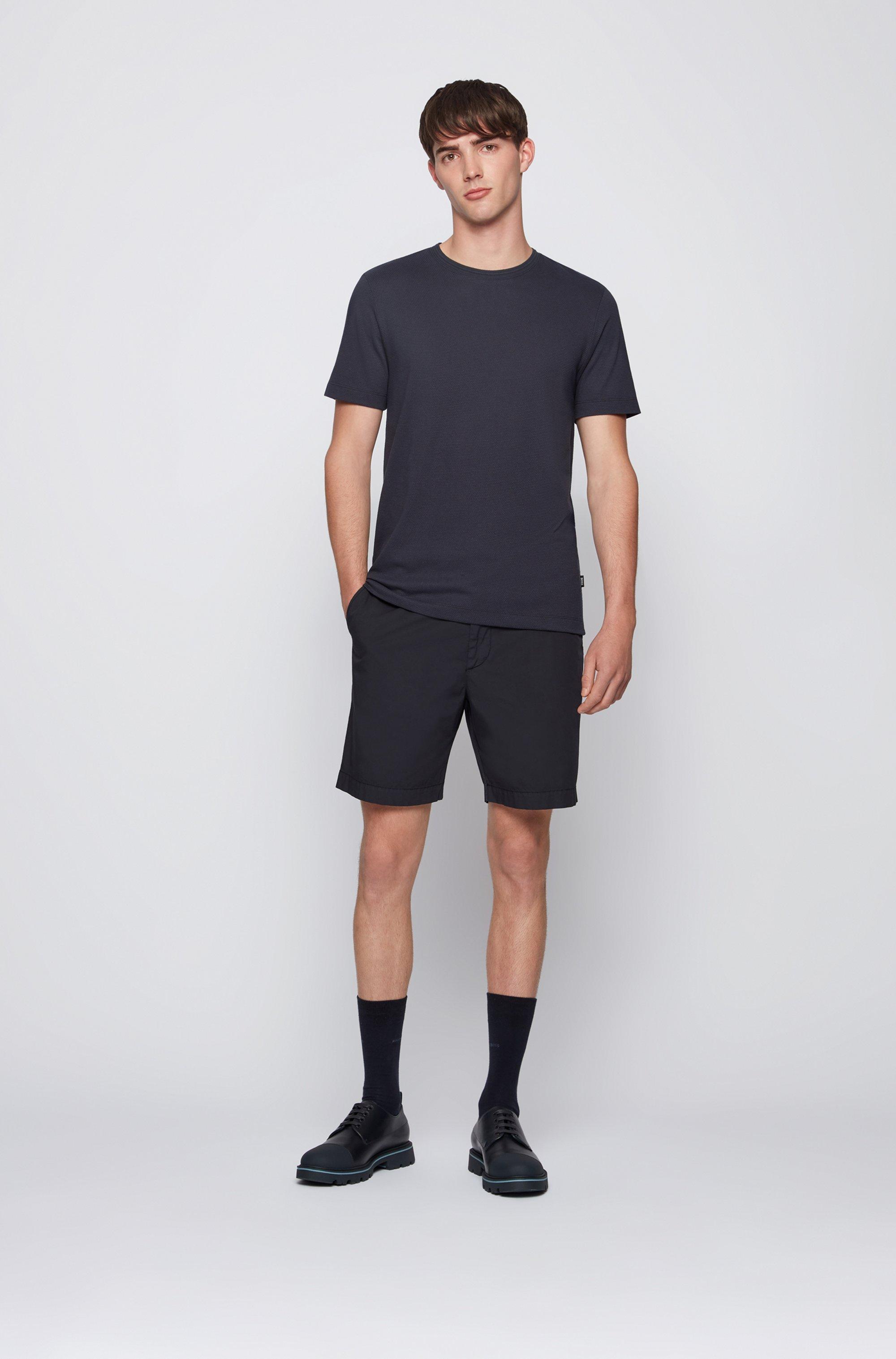 Cotton-blend T-shirt with bubble-jacquard structure