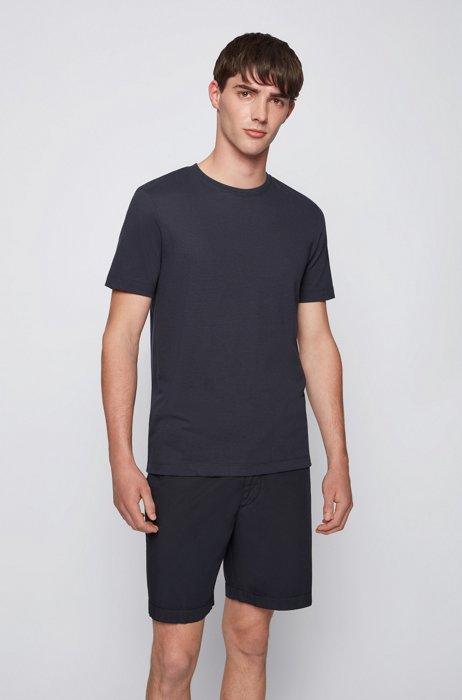 Cotton-blend T-shirt with bubble-jacquard structure, Dark Blue