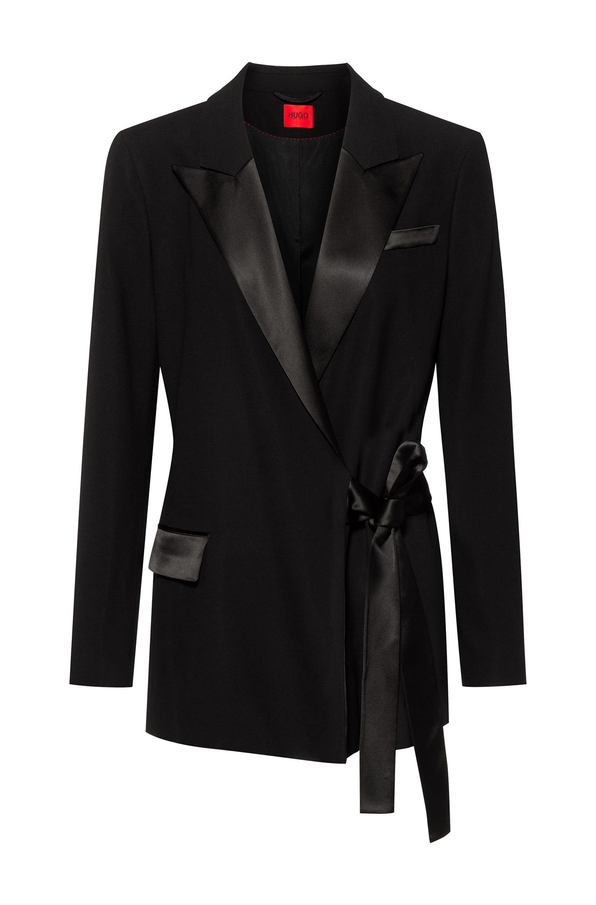 Regular-fit jacket in crepe fabric with lustrous trims, Black